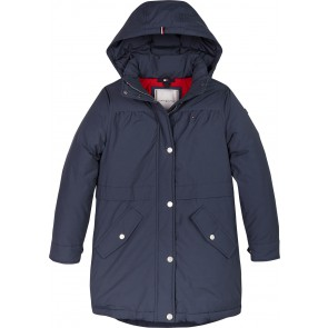 Tommy Hilfiger kids girls tech parka water afstotend in de kleur donkerblauw