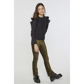 AI&KO kids girls Craig corduroy flared velvet-broek in de kleur army green groen