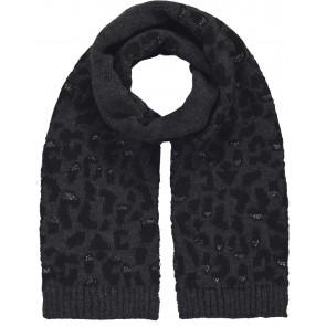 Barts kids col sjaal Honey scarf met panterprint in de kleur antraciet grijs