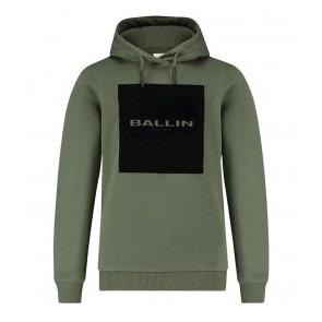 Ballin Amsterdam kids hoodie sweater trui met velours logo print in de kleur army green