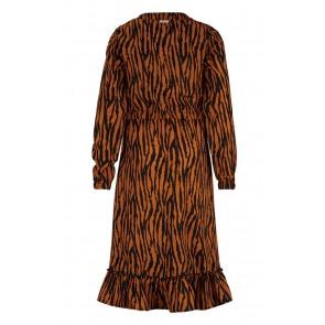 Retour jeans girls Clara lange jurk met zebra print in de kleur roestbruin