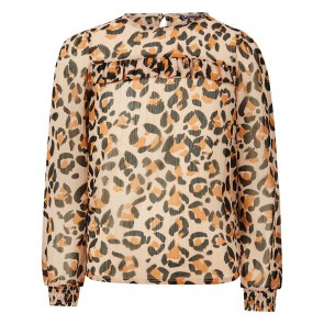 Retour jeans girls Ileana blouse met ruches en panter print in de kleur multicolor