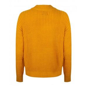 Rellix kids girls grof gebreide trui in de kleur okergeel