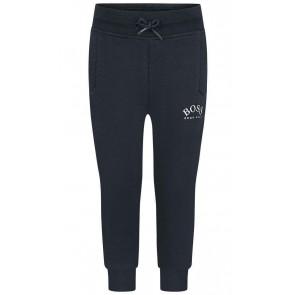 Hugo Boss kids boys sweatpants broek met logo print in de kleur donkerblauw