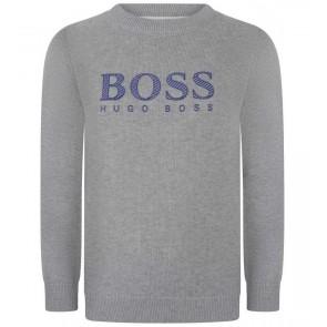 Hugo Boss kids boys fijngebreide trui met logo print in de kleur lichtgrijs