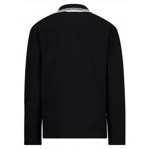 Hugo Boss kids boys polo longsleeve shirt met witte bies in de kleur zwart