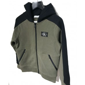 Calvin Klein kids sweatvest colour block in de kleur army green/zwart