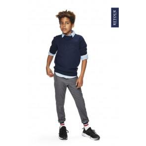 Retour jeans boys chino zacht broekje met elastiek band in de kleur grijs