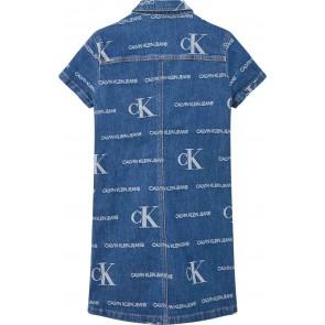 Calvin Klein kids girls denim jurk met logo print in de kleur jeansblauw