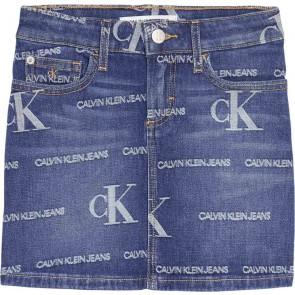 Calvin Klein kids girls denim rok met logo print in de kleur jeansblauw