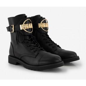 Nik en Nik girls Brynn boots met gouden gesp in de kleur zwart
