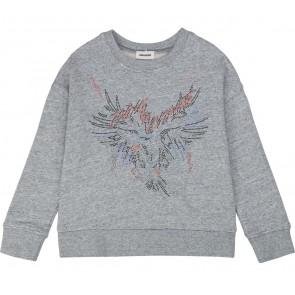 Zadig en Voltaire girls sweater trui met glitter steentjes in de kleur grijs