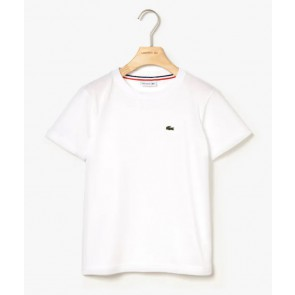 Lacoste kids boys t-shirt met ronde hals in de kleur wit