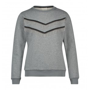 AI&KO girls sweater trui met franjes in de kleur grijs