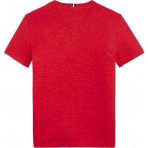 Tommy hilfiger kids boys varsity tee met logo print in de kleur rood