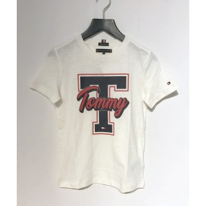 Tommy Hilfiger kids boys t-shirt Varsity tee in de kleur off white