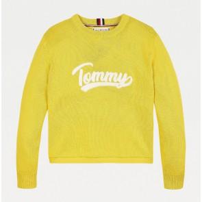 Tommy Hilfiger kids girls fijngebreide varsity sweater met logo print in de kleur geel