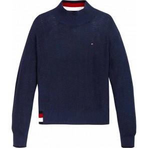 Tommy hilfiger kids girls global fijngebreide stripe sweater in de kleur donkerblauw