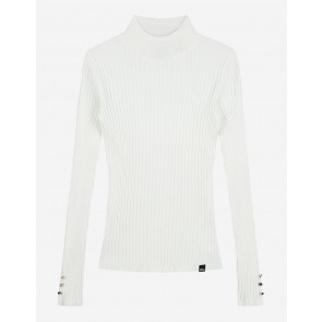 Nik en Nik kids girls viscose col top rib in de kleur off white