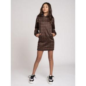 Nik en Nik girls Vivian Hooded dress jurk met logo print in de kleur bruin/zwart