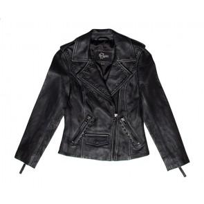Dekkers lams leren jasje met studs in de kleur vintage black