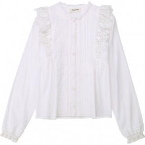 Zadig en Voltaire girls blouse met ruches en broderie in de kleur wit
