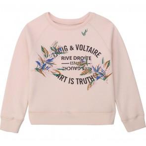 Zadig en Voltaire girls sweater trui met geborduurde bloemen in de kleur zachtroze