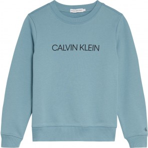Calvin Klein kids boys institutional logo sweater in de kleur zee blauw