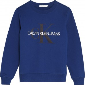 Calvin Klein kids boys monogram logo sweater in de kleur kobalt blauw