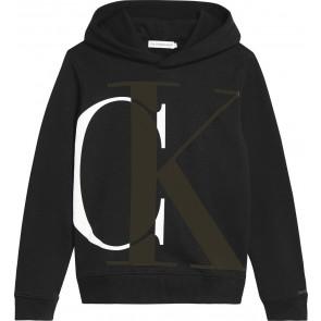 Calvin Klein kids boys monogram hoodie sweater trui in de kleur zwart/groen