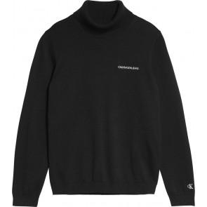 Calvin Klein kids boys col trui roll neck fijngebreide sweater in de kleur zwart