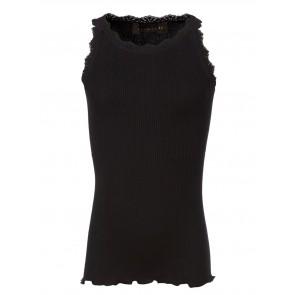 Rosemunde girls hemd top van zijde en katoen met kant rand in de kleur zwart