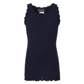 Rosemunde girls hemd top van zijde en katoen met kant rand in de kleur donkerblauw