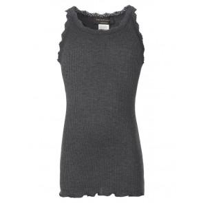 Rosemunde girls hemd top van zijde en katoen met kant rand in de kleur antraciet grijs
