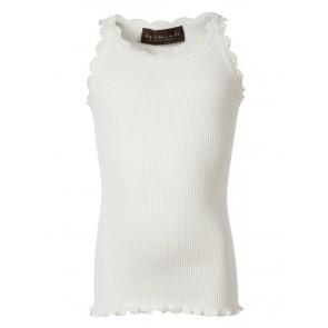 Rosemunde girls hemd top van zijde en katoen met kant rand in de kleur off white