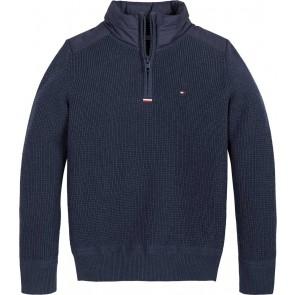 Tommy Hilfiger kids boys fijngebreide sweater trui met parachutestof in de kleur donkerblauw