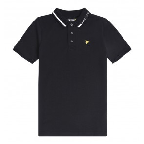 Lyle and scott junior kids polo shirt met witte bies in de kleur zwart