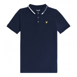 Lyle and scott junior kids polo shirt met witte bies in de kleur donkerblauw