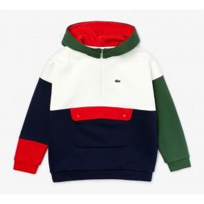 Lacoste kids boys hooded sweater trui colorblock in de kleur rood/groen/blauw