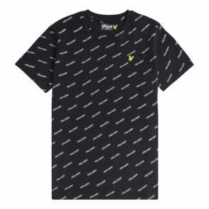 Lyle and Scott junior boys t-shirt met all over print in de kleur zwart