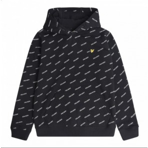 Lyle and Scott junior boys sweater trui met all over print in de kleur zwart