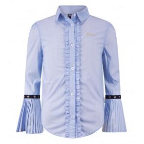 Retour jeans blouse Hilde met ruches en uitlopende mouw in de kleur lichtblauw