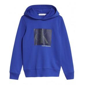 Calvin Klein jeans kids sweater trui met monogram contrast hoodie in de kleur kobalt blauw