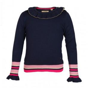 Le Big girls top van katoen met roze roezel rand in de kleur donkerblauw
