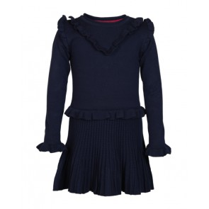 Le Big girls fijngebreide jurk met ruches in de kleur donkerblauw