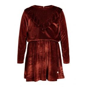 Le Big girls rib fluweel jurk met ruches in de kleur roestbruin