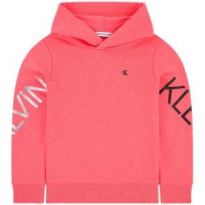 Calvin Klein kids girls sweater trui Hero logo hoodie in de kleur neon roze