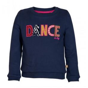 Le Big sweater trui Dance met gekleurde letters in de kleur donkerblauw