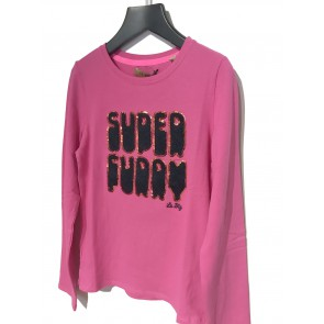 Le Big girls longsleeve shirt super furry in de kleur fuchsia roze