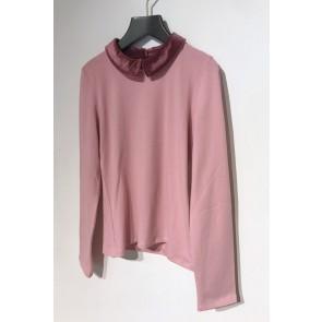 Le Big girls longsleeve shirt met oudroze velours kraagje in de kleur zachtroze